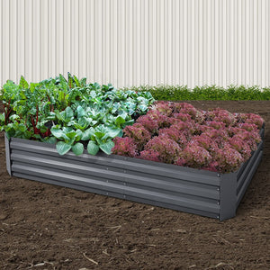 2x Galvanised Raised Garden Bed Garden Planter Pot 210cm x 90cm Grey