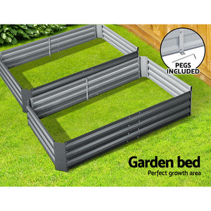 2x Galvanised Steel Raised Garden Bed Instant Planter Grey 150cmx90cm - Afterpay - Zip Pay - Free Shipping - Dodosales -