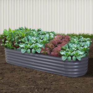 Galvanised Steel Raised Garden Bed Instant Planter 240 x 80 x 42cm Aluminium - Afterpay - Zip Pay - Free Shipping - Dodosales -