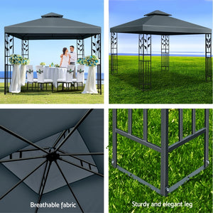 z 3x3m Gazebo Party Wedding Event Marquee Tent Shade Iron Art Canopy Grey