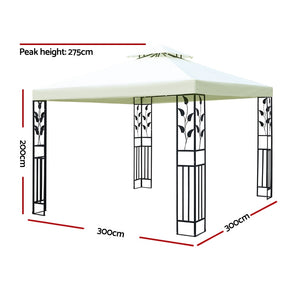 z 3x3m Gazebo Party Wedding Event Marquee Tent Shade Iron Art Canopy White