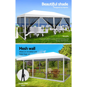 3x6m Pop Up Gazebo Party Wedding Event Marquee Tent Shade Canopy Mesh Walls
