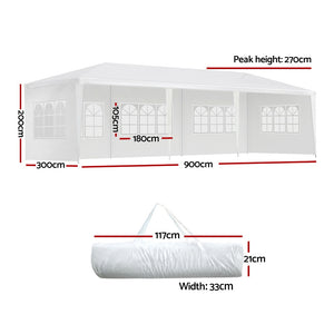 3x9m White Gazebo Party Wedding Event Market Marquee Tent 5 Panel