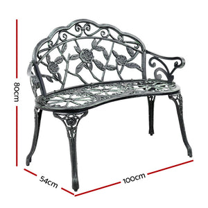Vintage Style Garden Bench Fer Forge French Wrought Iron Seat Green - Afterpay - Zip Pay - Free Shipping - Dodosales -