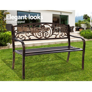 Cast Iron Garden Bench Park Patio Outdoors 2 Seater Vintage Style Bronze - Afterpay - Zip Pay - Free Shipping - Dodosales -