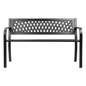 2 Seater Cast Iron Modern Park Bench  Patio Garden Outdoors Black - Afterpay - Zip Pay - Free Shipping - Dodosales -