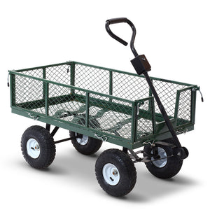 Mesh Garden Steel Cart Wheelbarrow Tolley Removable Sides - Green