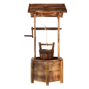 Wooden Wishing Well Garden Decor Rustic Style Plant Pot - Afterpay - Zip Pay - Free Shipping - Dodosales -