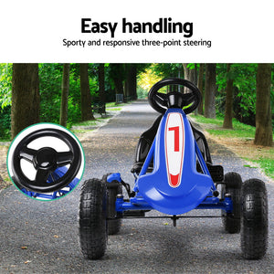Kids Manual Go Kart Car Ride On Toys Racing Bike Pedal Gokart Blue - Afterpay - Zip Pay - Free Shipping - Dodosales -