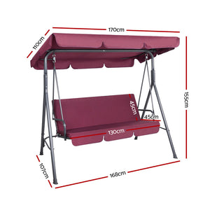 3 Seater Swing Chair Outdoor Hammock Garden Canopy Bench Seat Backyard Wine Red - Afterpay - Zip Pay - Free Shipping - Dodosales -