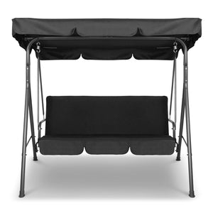 3 Seater Outdoor Swing Chair Canopy Shade Garden Seating Black - Afterpay - Zip Pay - Free Shipping - Dodosales -