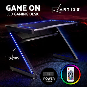 Gaming Desk RGB LED Racer Table Office Computer Carbon Fibre Style