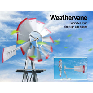 6FT Garden Windmill 186cm Metal Ornament Outdoor Decor Wind Mill - Afterpay - Zip Pay - Free Shipping - Dodosales -