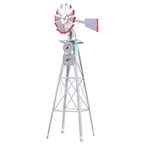 8FT Garden Windmill 245cm Metal Ornament Outdoor Decor Wind Mill Rain Gauge Thermometer - Afterpay - Zip Pay - Free Shipping - Dodosales -