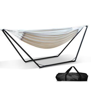 Hammock Bed with Steel Frame Stand Cotton Fabric Sleep Seat Outdoors Free Standing - Afterpay - Zip Pay - Free Shipping - Dodosales -