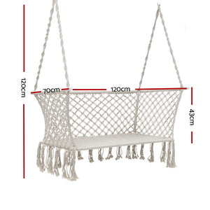 Hanging Rope Hammock Chair Patio 2 Person Swing Hammocks Double Portable Cream