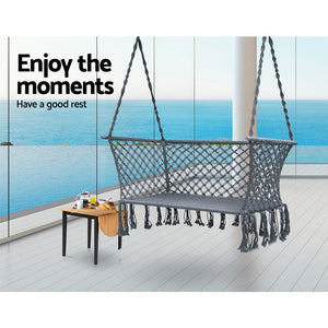 Hanging Rope Hammock Chair Patio 2 Person Swing Hammocks Double Portable - Afterpay - Zip Pay - Free Shipping - Dodosales -