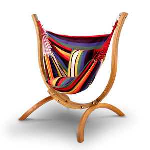 Hammock with Wooden Stand Chair Armchair Garden Patio Decor Colourful