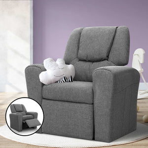Kids Fabric Reclining Armchair Toddler Recliner Chair Grey - Afterpay - Zip Pay - Free Shipping - Dodosales -