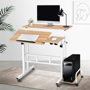 Home Office Computer Desk Twin Laptop Student Study Table Workstation Shelf Storage - Afterpay - Zip Pay - Free Shipping - Dodosales -