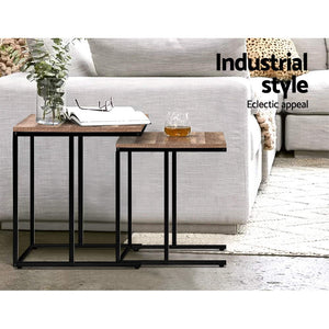 Set of 2 Nesting Tables Coffee Side Metal Frame Wooden Rustic Table