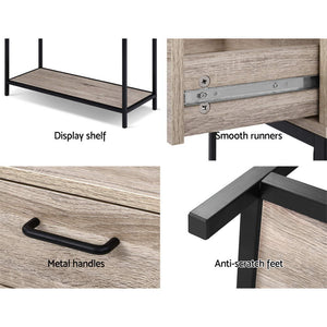 Hallway Console Table Hall Side Entry Display Desk Drawer Storage Oak Colour - Afterpay - Zip Pay - Free Shipping - Dodosales -