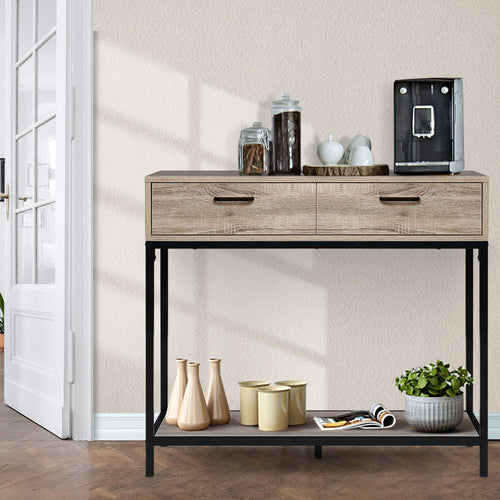 Hallway Console Table Hall Side Entry Display Desk Drawer Storage Oak Colour