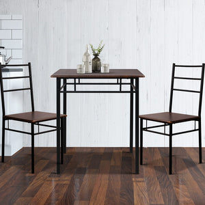 3 Piece Dining Table 2 Chairs Set Modern Seating Living Room Walnut & Black - Afterpay - Zip Pay - Free Shipping - Dodosales -