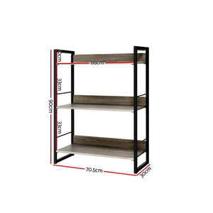 Book Shelf 3 Tier Display Unit Shelves Wood Metal Stand Hollow Storage