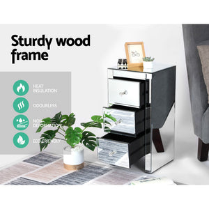 Mirrored Bedside Table With Drawers Nightstand Furniture Mirror Glass Silver - Afterpay - Zip Pay - Free Shipping - Dodosales -