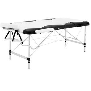 Massage Table 3 Fold Portable Aluminium Table Beauty Salon Black & White - Afterpay - Zip Pay - Free Shipping - Dodosales -