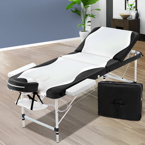 Massage Table 3 Fold Portable Aluminium Table Black & White - Afterpay - Zip Pay - Free Shipping - Dodosales -