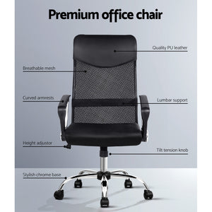Black High Back Office Chair PU Leather Mesh Office Student Seat - Afterpay - Zip Pay - Free Shipping - Dodosales -