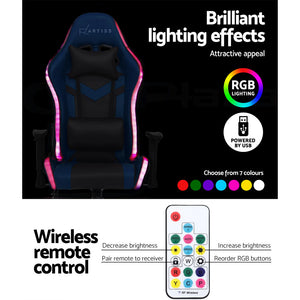 Gaming Office Chair With RGB LED Lights Computer Work Home Chair Seat