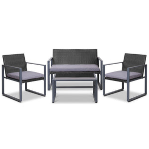 4PC Wicker Outdoor Furniture Patio Table Chair Rattan Set Black Grey - Afterpay - Zip Pay - Free Shipping - Dodosales -