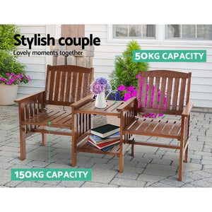 Garden Bench Chair Table Loveseat Outdoor Furniture Patio Park Armchair - Brown - Afterpay - Zip Pay - Free Shipping - Dodosales -