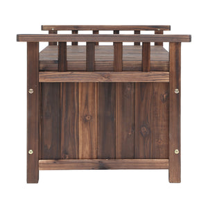 Outdoor Storage Box Garden Bench Patio Wooden Chest Slat Design Charcoal - Afterpay - Zip Pay - Free Shipping - Dodosales -