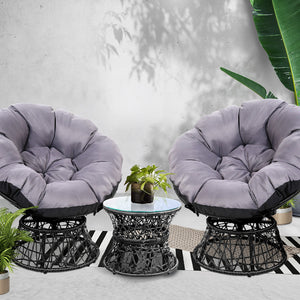 Papasan Moon Chair and Side Table Set Wicker Seat Patio Garden - Black