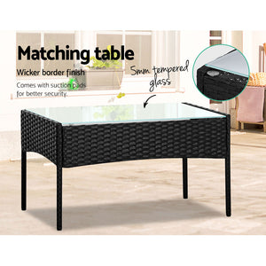 4 Pc Outdoor Setting Wicker Patio Garden Furniture Sofa Armchair Table Black - Afterpay - Zip Pay - Free Shipping - Dodosales -