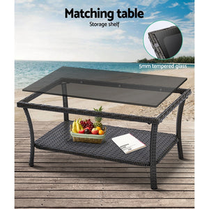 Wicker Outdoor Patio Furniture Set Sofa Chair Table 4pc Dark Grey