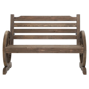 Garden Wooden Wagon Wheel Bench Rustic 2 Seater With Backrest Brown