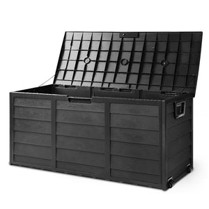 290L Outdoor Storage Box Lockable Weatherproof Garden Deck Toy Shed Black - Afterpay - Zip Pay - Free Shipping - Dodosales -