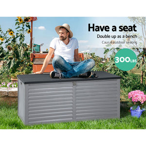 490L Outdoor Storage Box Bench Seat Toy Tool Shed Chest Dark Grey - Afterpay - Zip Pay - Free Shipping - Dodosales -