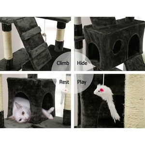 180cm Multi Level Cat Scratching Post Cat Tree Pole Perch Climb Bed Cube Ladder Cat Tower