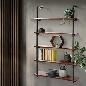 5 Level DIY Wooden Industrial Wall Pipe Shelf Rustic Floating Decor Bookshelf Shelving