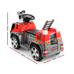 Motorised Kids Ride On Fire Truck Car Red Grey Flash Light Music Fireman - Afterpay - Zip Pay - Free Shipping - Dodosales -