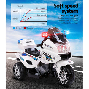 Kids Police Ride On Bike Motorbike Motorcycle Car White 3 Wheels - Afterpay - Zip Pay - Free Shipping - Dodosales -