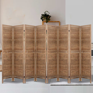 8 Panel Room Divider Privacy Screen Folding Partition Home Office Brown