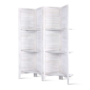 4 Panel Room Divider Privacy Screen With Shelves Folding Partition Home Office White