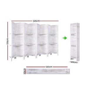 8 Panel Room Divider Privacy Screen With Shelves Folding Partition Home Office White - Afterpay - Zip Pay - Free Shipping - Dodosales -